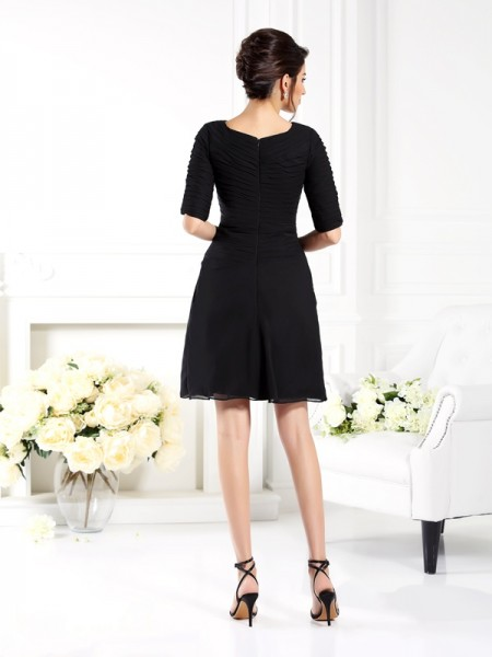 Sheath/Column 1/2 Sleeves Ruched Short/Mini Other Chiffon Bridesmaid Dresses