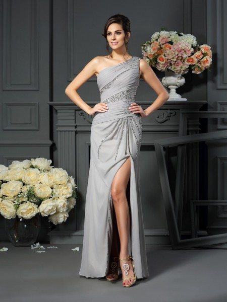 Trumpet/Mermaid Sleeveless Beading Floor-Length One-Shoulder Chiffon Mother of the Bride Dresses