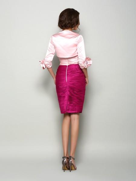 Sheath/Column Sleeveless Beading Knee-Length Sweetheart Satin Mother of the Bride Dresses