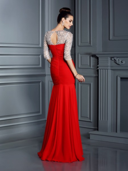 Trumpet/Mermaid 3/4 Sleeves Beading Floor-Length Scoop Chiffon Dresses