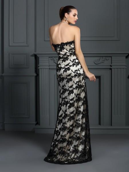 Sheath/Column Sleeveless Lace Sweep/Brush Train Strapless Elastic Woven Satin Dresses