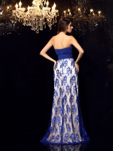 Sheath/Column Sleeveless Lace Floor-Length Sweetheart Elastic Woven Satin Dresses