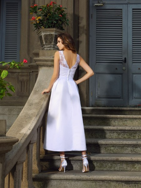 A-Line/Princess Sleeveless Ankle-Length Applique Satin Bateau Wedding Dresses