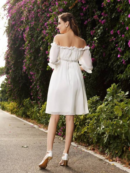 A-Line/Princess 1/2 Sleeves Knee-Length Beading Chiffon Off-the-Shoulder Wedding Dresses
