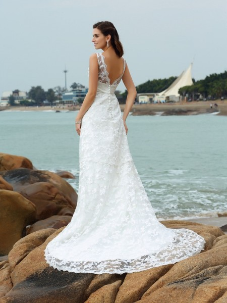 A-Line/Princess Sleeveless Chapel Train Applique Satin Straps Wedding Dresses