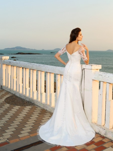 Sheath/Column Short Sleeves Floor-Length Applique Satin Sweetheart Wedding Dresses