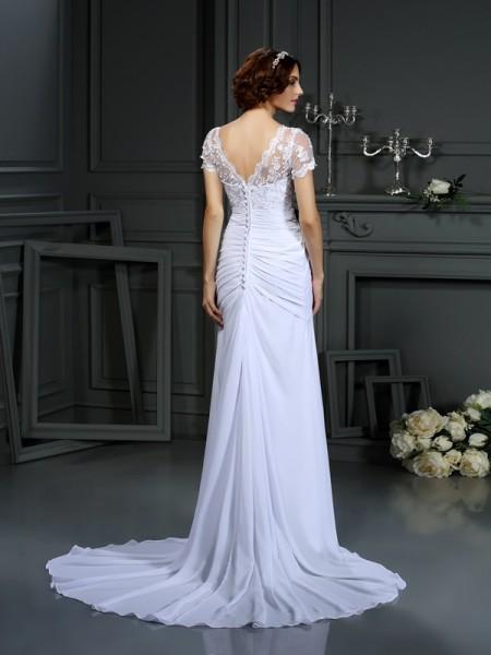 Sheath/Column Short Sleeves Court Train Lace Chiffon V-neck Wedding Dresses