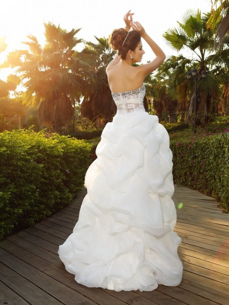 A-Line/Princess Sleeveless Asymmetrical Beading Organza Sweetheart Wedding Dresses