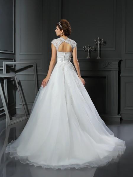 Ball Gown Sleeveless Chapel Train Beading,Applique Organza Square Wedding Dresses
