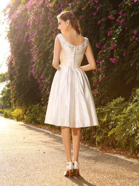 A-Line/Princess Sleeveless Tea-Length Beading Satin V-neck Wedding Dresses