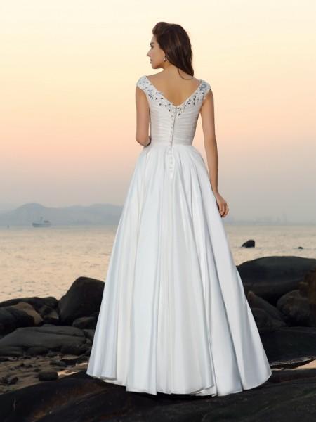 A-Line/Princess Sleeveless Floor-Length Beading,Applique Taffeta V-neck Wedding Dresses