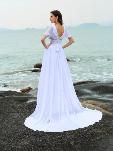 A-Line/Princess Short Sleeves Sweep/Brush Train Ruffles Chiffon V-neck Wedding Dresses
