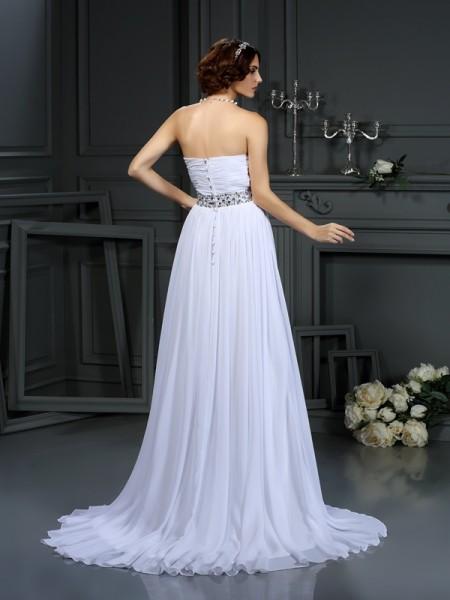 A-Line/Princess Sleeveless Court Train Beading Chiffon Sweetheart Wedding Dresses