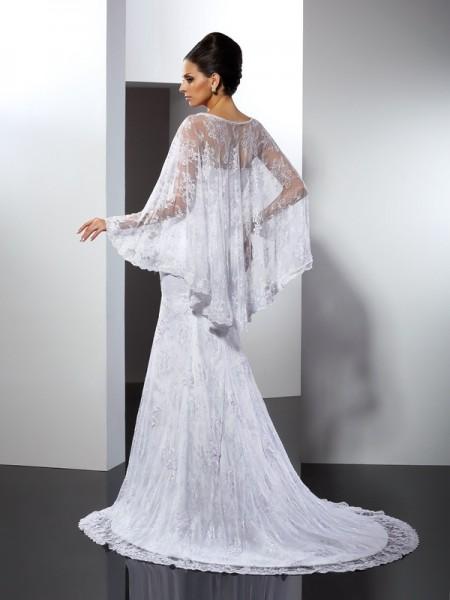Trumpet/Mermaid Sleeveless Court Train Applique Lace Sweetheart Wedding Dresses