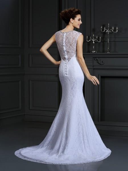 Sheath/Column Sleeveless Court Train Lace Satin V-neck Wedding Dresses