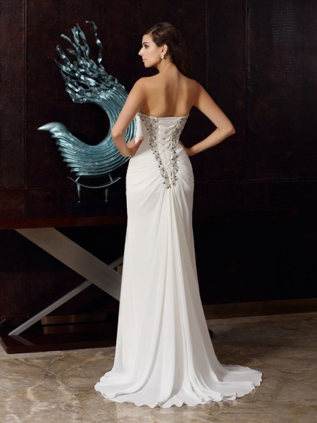 Trumpet/Mermaid Sleeveless Sweep/Brush Train Beading Chiffon Sweetheart Dresses
