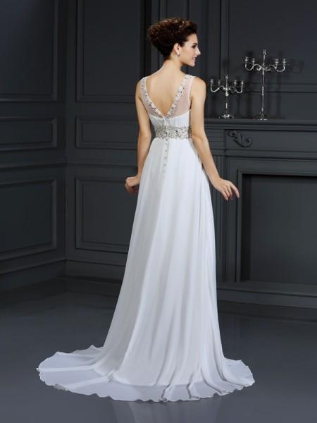 A-Line/Princess Sleeveless Chapel Train Ruffles Chiffon Bateau Wedding Dresses