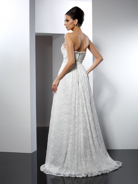 A-Line/Princess Sleeveless Sweep/Brush Train  Satin Sweetheart Wedding Dresses