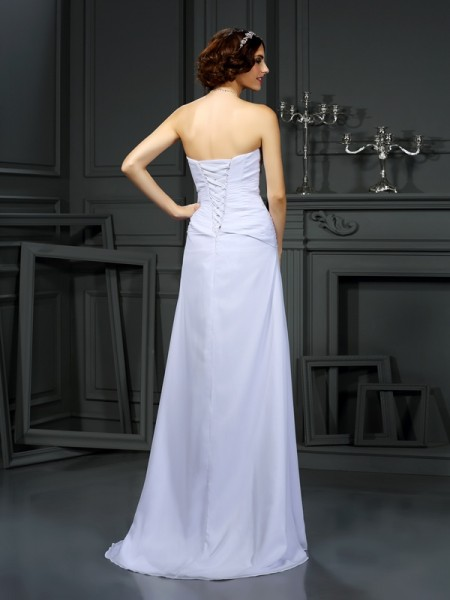 Sheath/Column Sleeveless Sweep/Brush Train Beading Chiffon Strapless Wedding Dresses