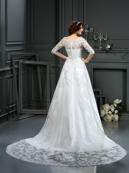 A-Line/Princess 1/2 Sleeves Court Train Lace Satin Bateau Wedding Dresses