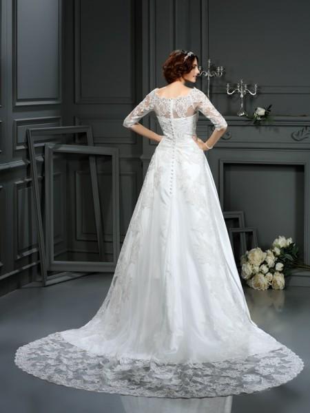 A-Line/Princess 1/2 Sleeves Court Train Lace Satin Bateau Wedding Dresses