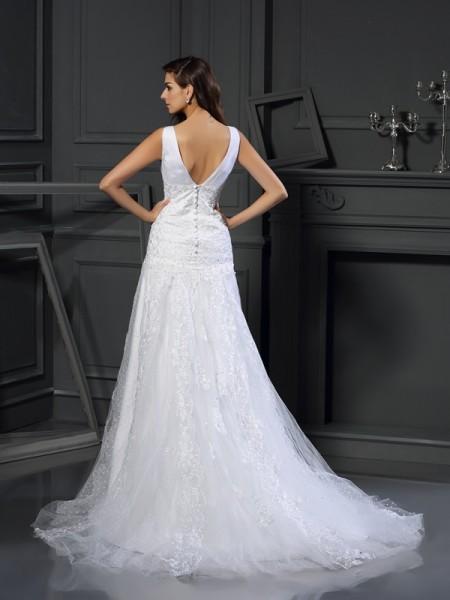 A-Line/Princess Sleeveless Chapel Train Beading,Applique Satin V-neck Wedding Dresses