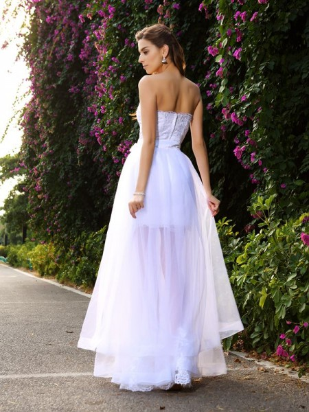 Trumpet/Mermaid Sleeveless Floor-Length Applique Tulle Sweetheart Wedding Dresses