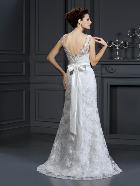 Trumpet/Mermaid Sleeveless Chapel Train Applique Lace Sweetheart Wedding Dresses