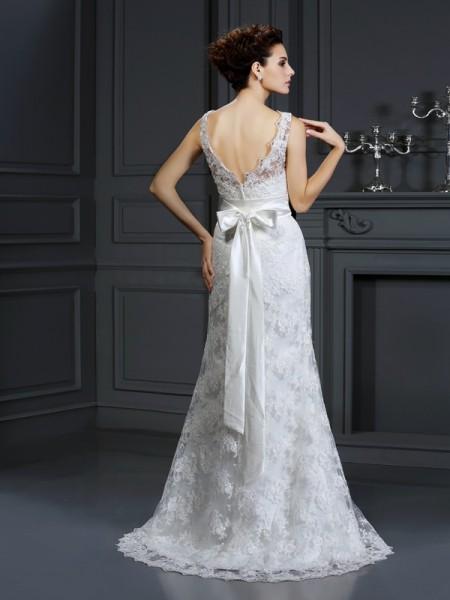 Trumpet/Mermaid Sleeveless Chapel Train Applique Lace Sweetheart Wedding Dresses