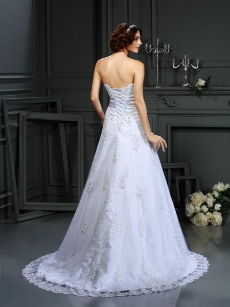 A-Line/Princess Sleeveless Court Train Applique Satin Strapless Wedding Dresses
