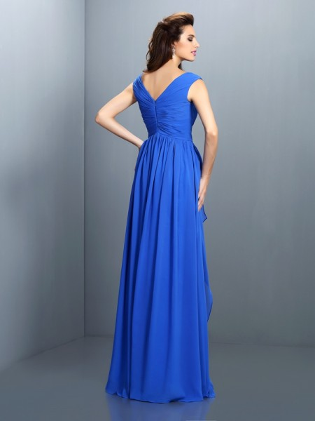 A-Line/Princess Sleeveless Floor-Length Pleats,Beading Chiffon V-neck Dresses