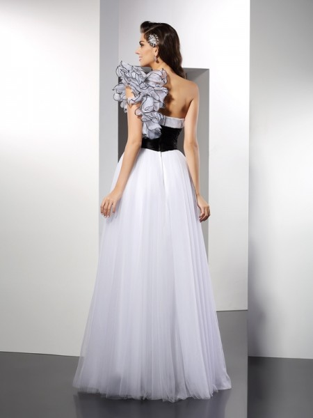 A-Line/Princess Sleeveless Floor-Length Sash/Ribbon/Belt Net One-Shoulder Dresses