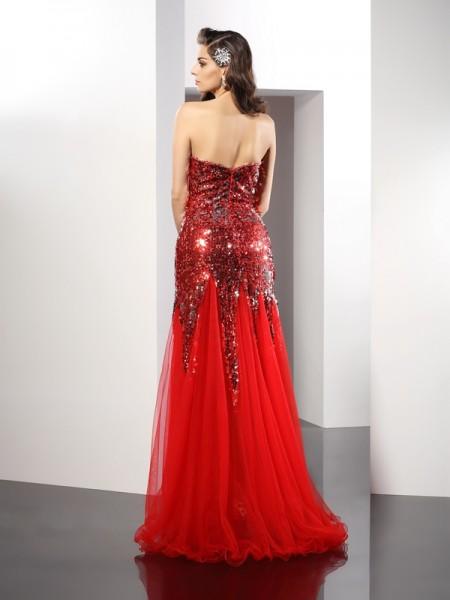 Sheath/Column Sleeveless Floor-Length Sequin Elastic Woven Satin Sweetheart Dresses