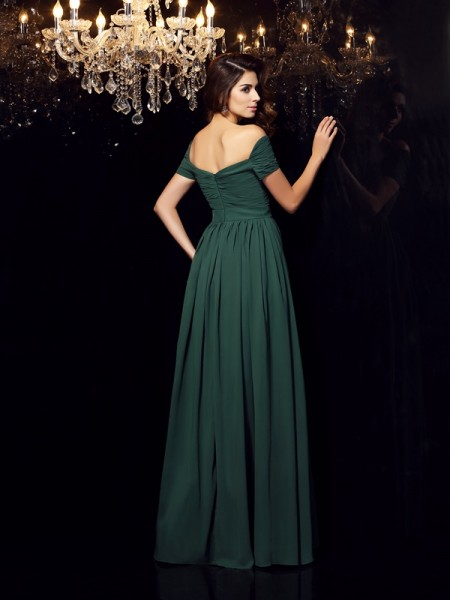 A-Line/Princess Sleeveless Floor-Length Ruched Chiffon Off-the-Shoulder Dresses