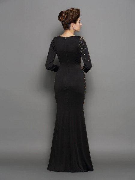 Trumpet/Mermaid Long Sleeves Floor-Length Rhinestone Spandex Scoop Dresses