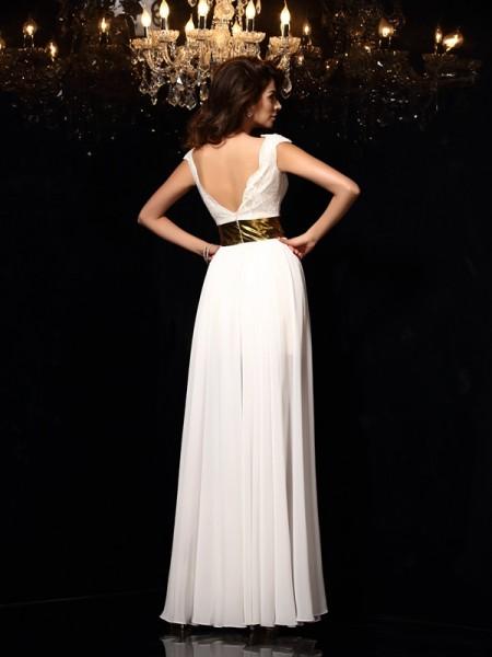 A-Line/Princess Sleeveless Floor-Length Lace Chiffon V-neck Dresses