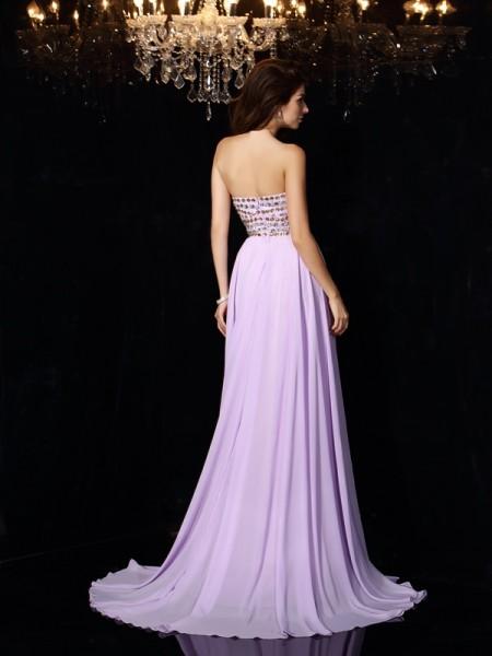 A-Line/Princess Sleeveless Floor-Length Beading Chiffon Sweetheart Dresses