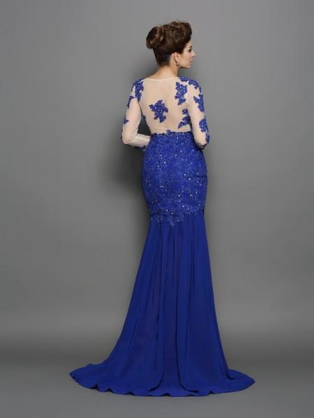 Trumpet/Mermaid Long Sleeves Sweep/Brush Train Lace Chiffon Scoop Dresses