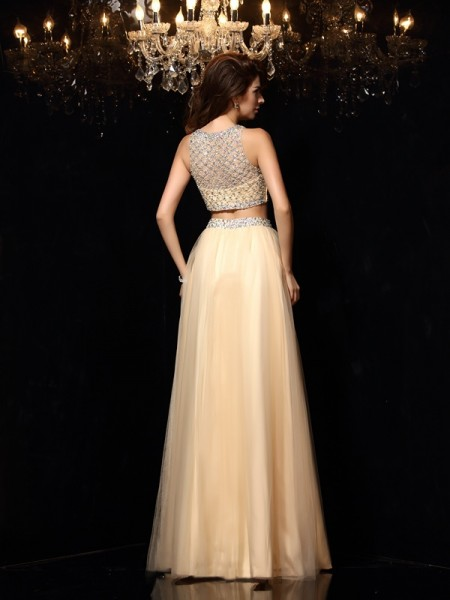 A-Line/Princess Sleeveless Floor-Length Beading Net High Neck Dresses