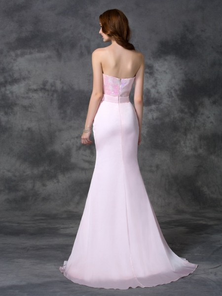 Trumpet/Mermaid Beading Floor-length Sweetheart Sleeveless Satin Chiffon Bridesmaid Dresses