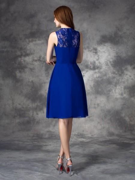 A-line/Princess Ruffles Short/Mini Straps Sleeveless Chiffon Bridesmaid Dresses
