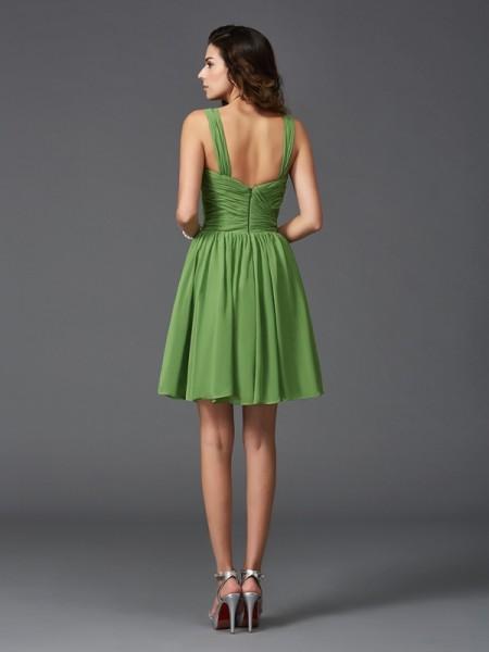 A-Line/Princess Ruffles Short/Mini Straps Sleeveless Silk like Satin Bridesmaid Dresses