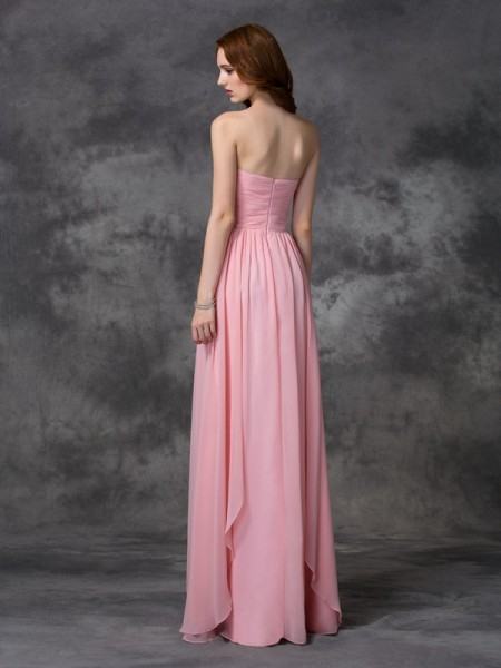 A-line/Princess Ruffles Floor-length Sweetheart Sleeveless Chiffon Bridesmaid Dresses