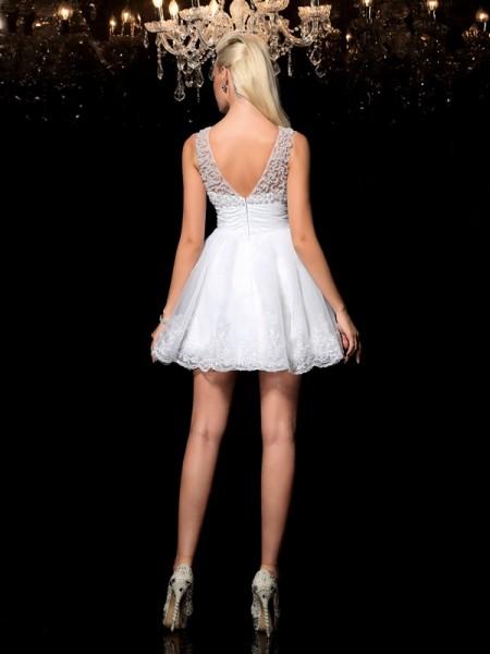A-Line/Princess Beading Short/Mini Sheer Neck Sleeveless Elastic Woven Satin Cocktail Dresses