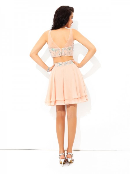 A-Line/Princess Beading Short/Mini Sheer Neck Sleeveless Chiffon Cocktail Dresses