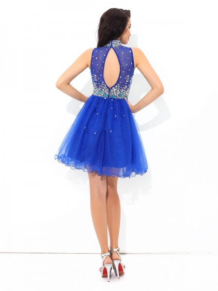 A-Line/Princess Beading Short/Mini High Neck Sleeveless Net Cocktail Dresses