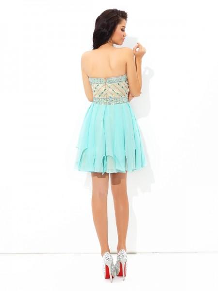 A-Line/Princess Beading Short/Mini Sweetheart Sleeveless Chiffon Cocktail Dresses