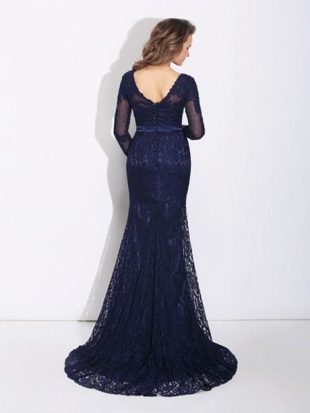 Sheath/Column Sweep/Brush Train V-neck Long Sleeves Lace Dresses