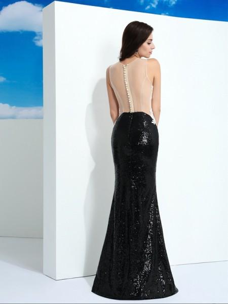 Sheath/Column Paillette Floor-Length Scoop Sleeveless Lace Dresses