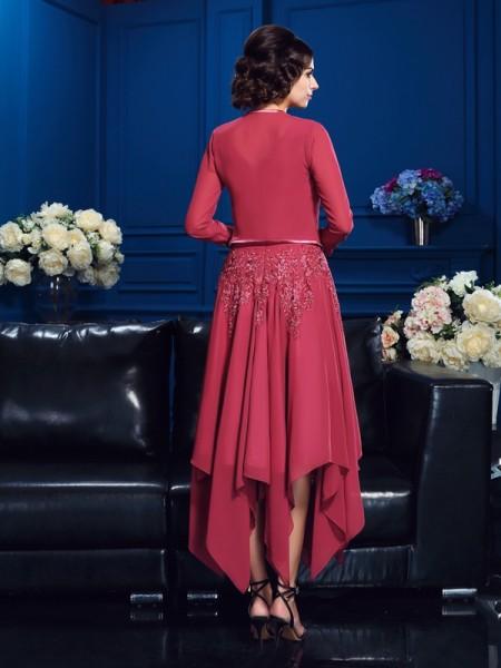 A-Line/Princess Applique Asymmetrical V-neck Sleeveless Chiffon Mother of the Bride Dresses